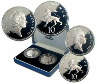 Picture of Elizabeth II, 10 Pence (Large & Small) 1992 Proof Sterling Silver Pair