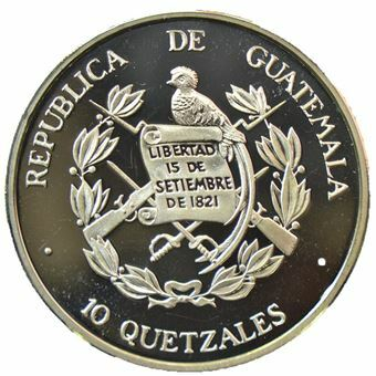 Picture of Guatemala, 10 Quetzales, Silver Proof Piedfort Pattern Crown