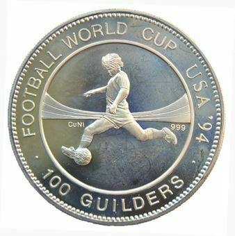 Picture of Suriname, Error 100 Guilders 1994 Commemorative Crown