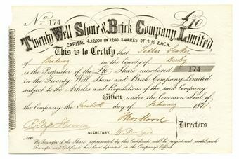 Picture of Twenty Well Stone & Brick Company Ltd. £10 Share