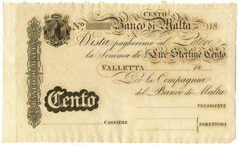 Picture of Malta, rare 100 Lire Sterline note, 1820-1840. Crisp UNC (PS165)