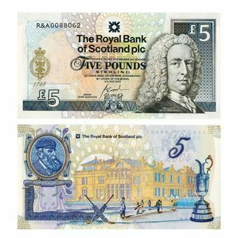 Picture of Royal Bank of Scotland 'Royal & Ancient Golf Club' £5 note. Uncirculated