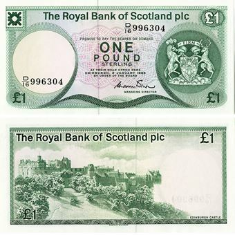 Picture of Royal Bank of Scotland plc, £1, 1982-1986. UNC
