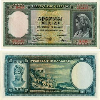 Picture of Greece, 1000 Drachma, 1939. VF Condition