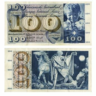 Picture of Switzerland 100 francs 1956-73. VF