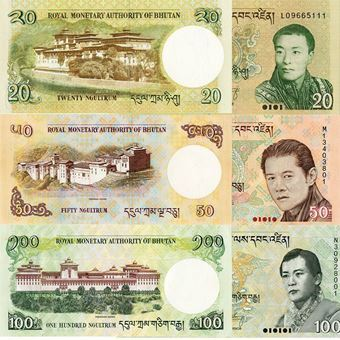 Picture of Bhutan Royal Trio 20-100 ngultrum (P30-2). UNC
