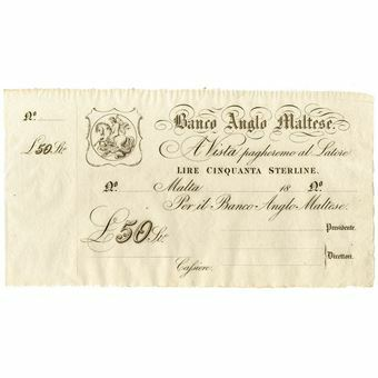 Picture of Malta, £50 Sterling note, ca. 1888 (PS116)