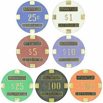 Picture of Set of 7 Casino Chips from Nevada Club, Las Vegas