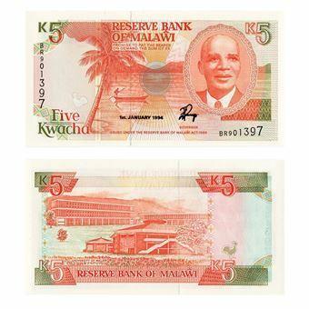 Picture of Malawi, 5 Kwacha, 1994 (P24b) UNC