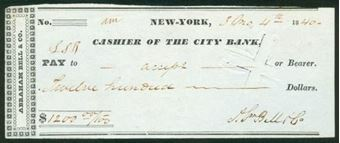 Picture of New York, Cashier of The City Bank, 18(40)