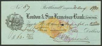 Picture of Portland, Oregon, London & San Francisco Bank, Ltd., 18(900)