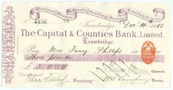 Picture of Capital & Counties Bank, Trowbridge, 1880's, special printing, Wilts and Western Bldg Soc.
