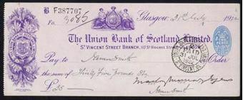 Picture of Union Bank of Scotland Ltd., Glasgow, 117 St. Vincent Street, 19(22)