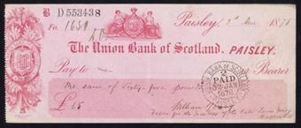 Picture of Union Bank of Scotland, Paisley, 18(77)