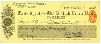 Picture of Agent for The British Linen  Bank, Dumfries, 19(08)