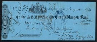 Picture of Agent of the City of Glasgow, Linlithgow, stamped on branch line, 18(74)