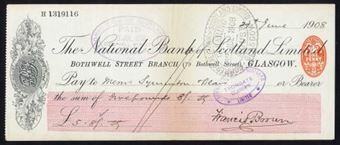 Picture of National Bank of Scotland Ltd., Glasgow, Bothwell St. Branch, address under bank title, 19(08)