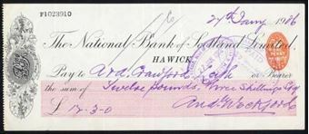 Picture of National Bank of Scotland Ltd., Hawick, 19(06), branch name under bank title