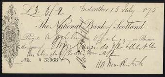 Picture of National Bank of Scotland, Anstruther, 18(75), imprint at lower edge, horizontal
