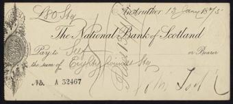 Picture of National Bank of Scotland, Anstruther, 18(75), imprint in centre