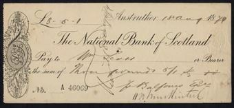 Picture of National Bank of Scotland, Anstruther, 18(79), imprint at lower edge, vertical