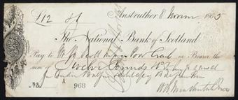Picture of National Bank of Scotland, Anstruther, 186(5), clear ornate general duty stamp