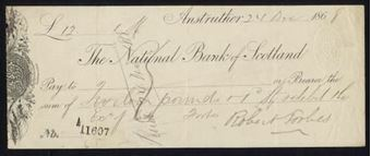 Picture of National Bank of Scotland, Anstruther, 186(8), clear oval duty stamp