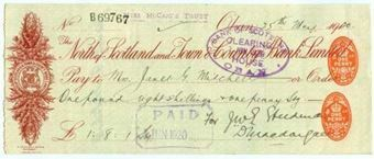 Picture of  North of Scotland and Town & County Bank Ltd. , double duty stamp, Oban, 191(20)