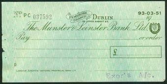Picture of Munster & Leinster Bank Ltd., Pembroke Branch, Dublin, 19--, circa 1950