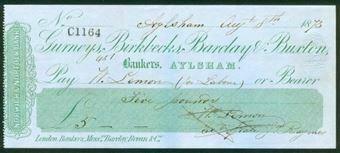 Picture of Gurneys, Birkbecks, Barclay & Buxton, Aylesham, 18(74), Norwich & Norfolk Bank, Type 1a