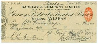 Picture of Aylsham, 18-- ovptd 190(1), Gurneys, Birkbecks, Barclay & Buxton OTG 7.3 variety