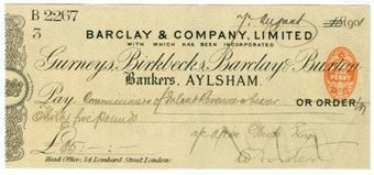 Picture of Aylsham, 18-- ovptd 190(1), Gurneys, Birkbecks, Barclay & Buxton OTG 7.6