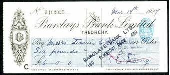Picture of Barclays Bank Ltd., Treorchy, 192[7], OTG113.1b but blue