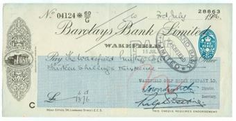 Picture of Wakefield, Leatham, Tew & Co, West Riding Bank, 19(36), OTG 103.17variety