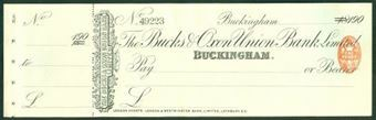Picture of Bucks & Oxon Union Bank, Ltd., Buckingham, 18-- overprinted 190(0)