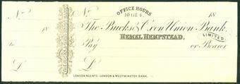 Picture of Bucks & Oxon Union Bank, Perkins Bacon Printer's Proof, Hemel Hempstead, circa 1870