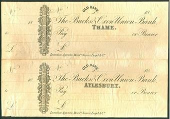 Picture of Bucks & Oxon Union Bank, Perkins Bacon Printer's Proof, Pair, Thame & Aylesbury, c1870