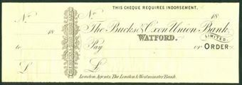 Picture of Bucks & Oxon Union Bank, Perkins Bacon Printer's Proof, Watford, circa 1870