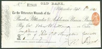 Picture of Burton, Uttoxeter & Ashbourn Union Bank, Ltd., Old Bank, Uttoxeter, 18(81)