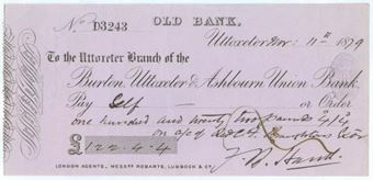 Picture of Burton, Uttoxeter and Ashbourn Union Bank, Old Bank, Uttoxeter, 18(79)