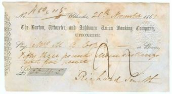 Picture of Burton, Uttoxeter and Ashbourn Union Banking Co, Uttoxeter, 186(1)