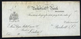 Picture of Beckett & Co.'s Bank, Bradford, 18--, to Messrs. Glyn, Mills, Currie & Co.