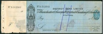 Picture of District Bank Ltd, ovptd on Manchester & Liverpool District Banking Co. Ltd., Stafford, 19(27)
