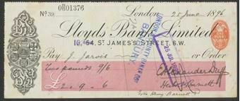 Picture of Lloyds Bank Ltd., 54 St. James's Street, S.W., overstamped '16' in mauve, 18(96), Type 5