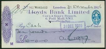 Picture of Lloyds Bank Ltd., Cox & King's Branch, 6 Pall Mall, S.W.1., 192(6), type 14b