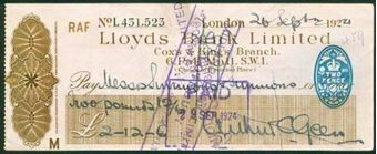 Picture of Lloyds Bank Ltd., Cox & King's Branch, London, 192(4), RAF account, type 14e