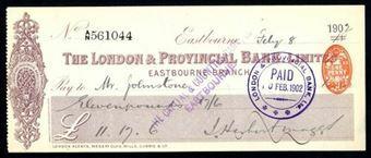 Picture of London & Provincial Bank, Ltd., Eastbourne, 18-- overprinted 190(2)