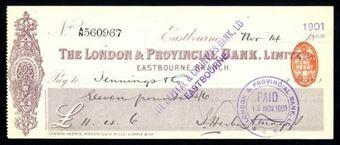 Picture of London & Provincial Bank, Ltd., Eastbourne, 18-- overstamped 1901