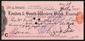 Picture of London & South Western Bank Ltd., Finchley, Church End Branch, 191(1)