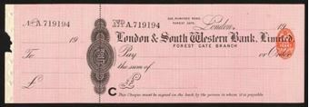 Picture of London & South Western Bank Ltd., Forest Gate, 19(08)